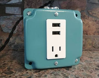 Desktop charging station-antique teal-phone and tablet charger-usb and outlet