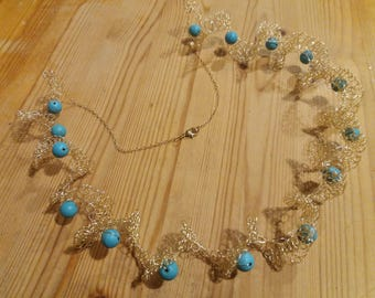 Gold curling necklace,romantic Necklace, wire crocheted Necklace, necklace light to wear,turquoise Gemstone necklace , crochet   jewelry