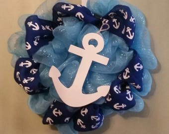 Anchors Away Summer Deco Mesh Wreath