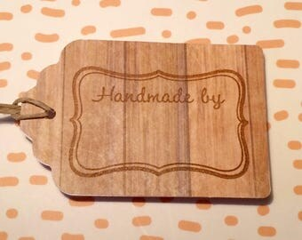 "Wood Grain ""Handmade By"" Paper Gift Tag"