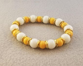 White and Yellow Gold Bracelet - White Bead Bracelet - Yellow Bead Bracelet - Fall Beaded Bracelet - Fall Jewelry - Autumn Bracelet