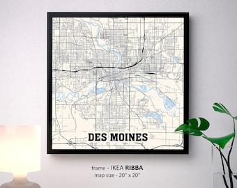 Des Moines Typographic Neighborhood Map Des Moines Iowa