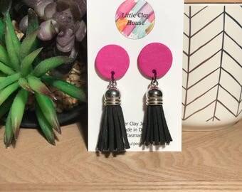 Pink tassel dangles