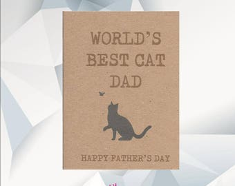 World's  BEST CAT DAD Happy Father's Day card, Father's Day Card From The Cat, Dad Day Card From Cat