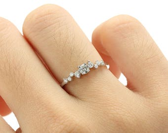 Unique Engagement Ring White Gold Diamond Cluster Twig Ring Wedding Women Dainty Bridal Jewelry Flower Multi stone Anniversary Promise Gift