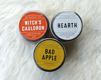 Fall Soy Candle Sampler - Pack of 3 - Apple Crumble, Pumpkin Pie, Vanilla Chai   Fall candles   Autumn candles   Halloween candles   3 oz ea