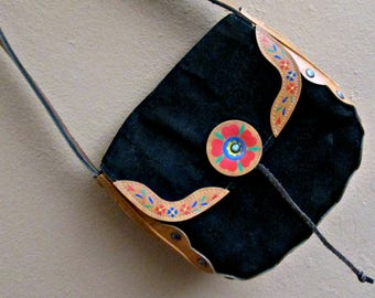 70s Vintage Small Handbag Black With Flower Details