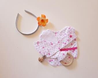 Cherries and Dots design 3 piece set - Bib, Dummy Chain & Teether (Medium)