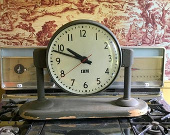 1950s School Clock, Double Sided, Wall or Desk Mount, Vintage Industrial Decor