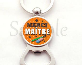 Bottle opener key chain teacher gift - Thank you teacher - school gift pencil