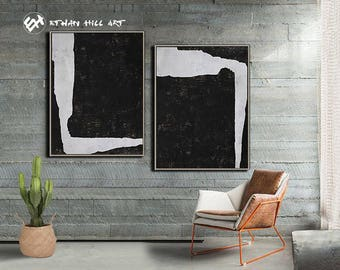 Abstract Painting Original Art Black and White Painting Large Paintings on Canvas Set of 2 Painting  - Ethan Hill Art No.P49