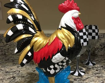 Whimsical hand painted rooster