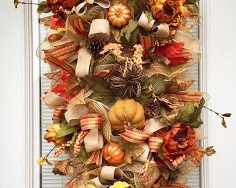 Pumpkin Thanksgiving Fall Door Swag, Thanksgiving Door Swag, Thanksgiving Wreath, Harvest Door swag, Front door swag