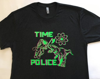 """NEW """"Time Police"""" Luxury T-Shirt Dark Charcoal Gray XL"""