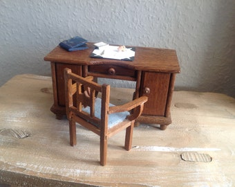 Antique desk with chair, desk pad and utensils