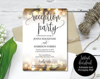 Wedding Reception Party Invitations, Wedding Invitations, Wedding Invitation Printable, Wedding Template, Editable Wedding Invite INV-14
