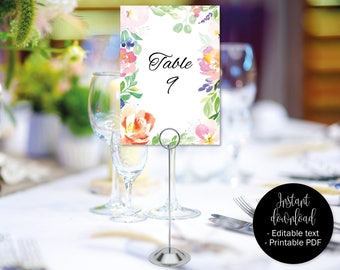 Wedding Table Numbers, Wedding Table Names, Wedding Template, Wedding Printable, Wedding Seating Cards, Watercolor Floral Wedding, BORDER-4