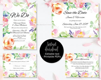 Wedding Invitation Template Set, Save the Date, Invite, RSVP, Guest Information, Editable Printable Wedding Templates, Border 4 SETA-4