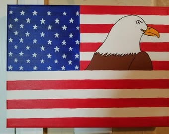 American flag bald eagle