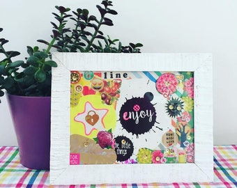 """Hand made frame with quote """"Enjoy the little things"""" 14x20 cm"""
