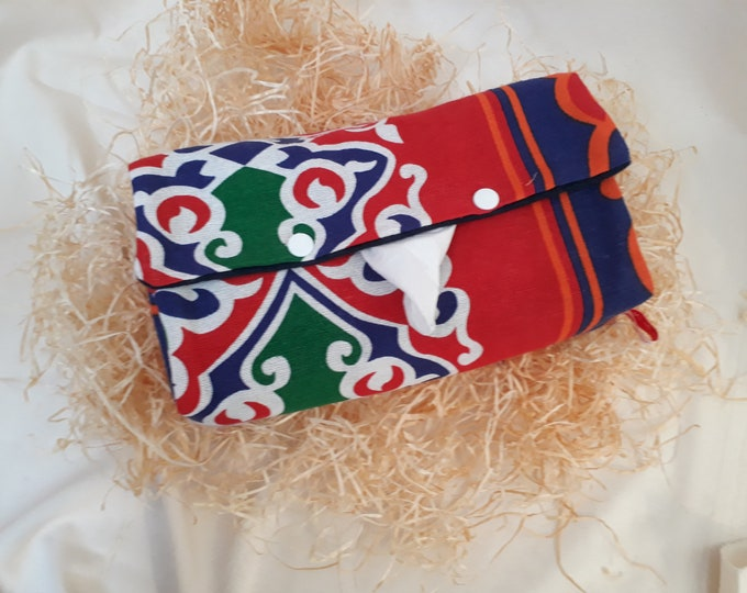 Colorful fabric tissue box cover.  Snap closures. Egyptian motifs. Arabesque. Gift for a co-worker