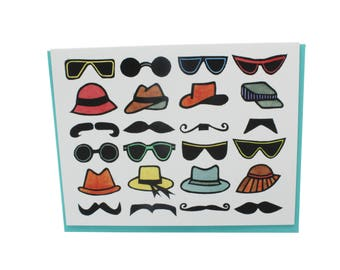 Brooklyn card, Brooklyn hipster card, hipster card, moustache card, Brooklyn hipster, mustache card, sunglasses card, too cool hipster card