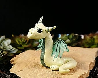 Polymer Clay Dragon * Polymer Clay Sculpture * Dragon Figurine * Dragon Statue * OOAK * One Of A Kind * Fantasy Art * Green Dragon