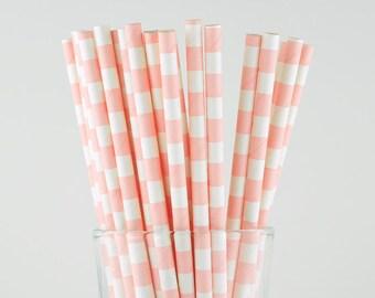 Pink Circle Paper Straws - Mason Jar Straws - Party Decor Supply - Cake Pop Sticks - Party Favor