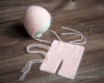 SALE! Newborn bonnet and pants, set, photography prop, baby girl outfit, knit pants and hat, mohair crochet bonnet leggings pink