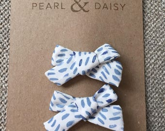 Schoolgirl bows, pigtail clips, little girl hair accessory, bow, clip, blue watercolor dot
