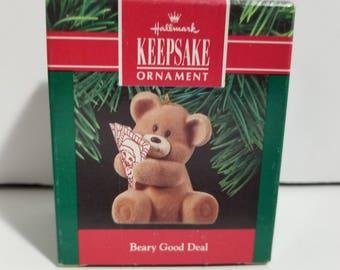 Vintage New in Box Hallmark Keepsake Ornament Beary Good Deal 1990