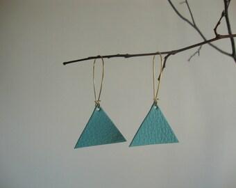Leather earrings triangle geometric blue