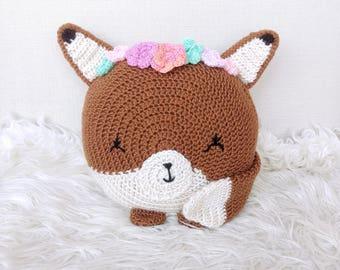 Fox Pillow - Animal Pillow -fox with flower crown - baby fox - animal decor - kids toy - nursery decor - knit fox - Fox - Crochet Fox Pillow