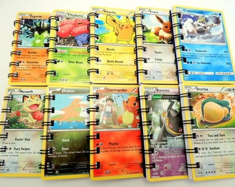 10 Pokemon Notepads made from upcycled pokemon cards - Pokemon Party - Pokemon Birthday - Pokemon Card - Pokemon Gifts