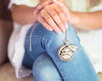 Hare pendant in antique pocket watch case/Hare necklace in antique chest of pocket watch