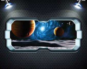 Full Colour Space Planet Window Galaxy Stars Moon Wall Art Sticker Decal Boys Bedroom WSD902