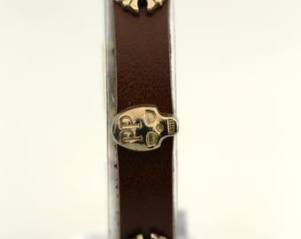 Brown Leather Bracelet,Gold Skull bracelet