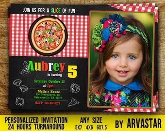 Pizza Party Invitation with photo,Pizza Birthday Invitation,Pizza Party Invite,Italian Birthday Invitation,Chalkboard,Pizza Invitation