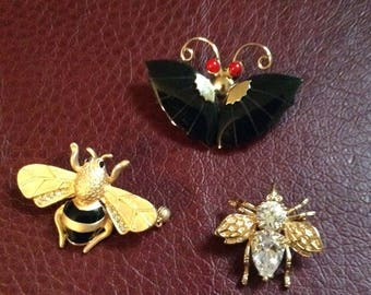 Vintage Insect Brooch Set of 3