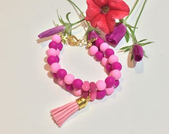 Pink on Pink Stacked Bracelet - Pink Tassel - Frosted Pink - Heart Shaped Toggle Clasp - Very Charming - Hot Pink -