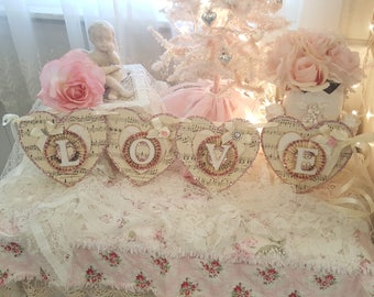 Vintage Shabby Chic Vintage Sheet Music Love Heart Party Banner Vintage Valentine's Day Decor Romantic Party Banner Wedding Banner Pink Love