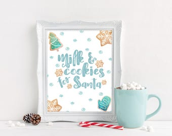 Milk and Cookies for Santa Printable - Christmas Printable - Christmas Decorations - Kids Christmas Decor - Santa Decor - Last Minute Gift