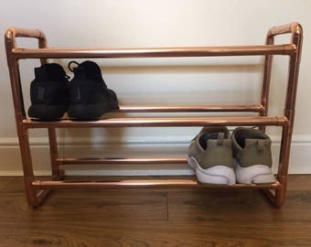 3 Tier,Copper, Copperpipe, Copper Fittings,Industrial,  Contemporary, Urban, Shoe Rack,