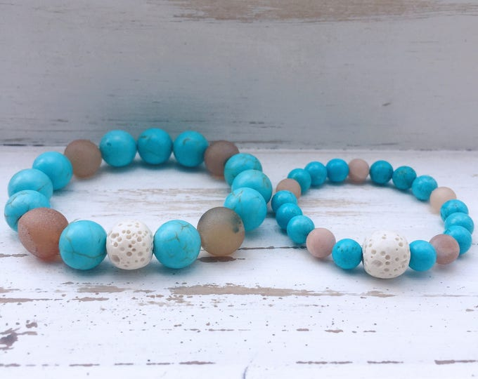 Mommy and Me Lava Rock Beaded Diffuser Bracelets for Essential Oils