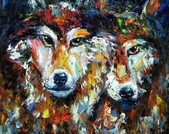 "Animal Original Oil Painting Wolf  on Canvas Size 24""X24"" 111artstudio"