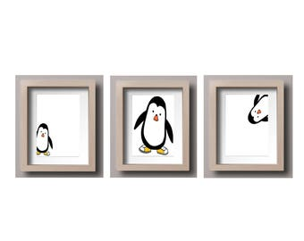 Cheeky Penguins Set of 3 Prints