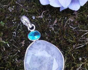Moonstone & Blue Topaz Pendant