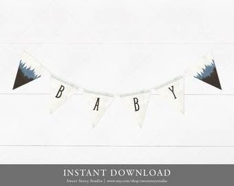 The Adventure Begins Bunting Banner | DIY Printable Digital File | Watercolor Blue Mountain Baby Shower | DC005