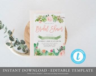 Succulent Bridal Shower Invitation Card | Instant Download, Editable, Printable | Boho Succulent, Cactus, Fiesta, Bachelorette | DC010