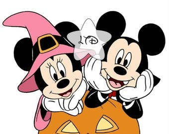 Mickey and Minnie Halloween Iron On Transfer